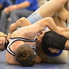 Broomfield's Jared Albo wrestles Valor Christian's John Holst in the 152 pound 4A region 3 match at Mullen High School on Saturday.<br /> February 16, 2013<br /> staff photo/ David R. Jennings