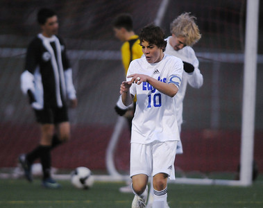 Broomfield's Landon Roos celebrates after scoring a goal against Harrison during the game on Tuesday at Elizabeth Kennedy Stadium.  October 27, 2009 Staff photo/David R. Jennings
