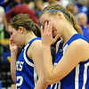 Broomfield's Meagan Prins, right, and Staci Hull cry after the Eagles lost to  Air Academy in Saturday's girls 4A state great eight playoff game at the Colorado School of Mines.<br /> March 2, 2012 <br /> staff photo/ David R. Jennings