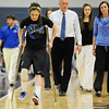 Broomfield's Brittney Zec walks on cruches during Saturday's girls 4A state great eight playoff game against Air Academy at the Colorado School of Mines. Zec was injured the night before the game during practice.<br /> March 2, 2012 <br /> staff photo/ David R. Jennings