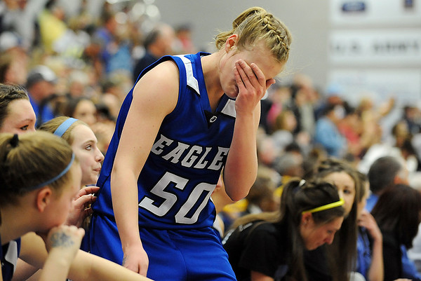 Broomfield's Callie Kaiser starts to cry as the Eagles loose to Air Academy during Saturday's girls 4A state great eight playoff game at the Colorado School of Mines.<br /> March 2, 2012 <br /> staff photo/ David R. Jennings