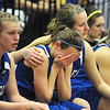 Broomfield's Katie Croell, center, cries as Meagan Prins conforts her after loosing to Air Academy in Saturday's girls 4A state great eight playoff game at the Colorado School of Mines.<br /> March 2, 2012 <br /> staff photo/ David R. Jennings