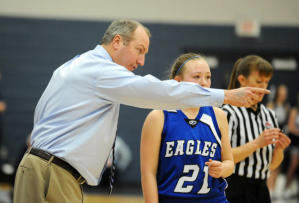 Broomfield's haed coach Mike Croell talks to Nicole Lehrerduring Saturday's girls 4A state great eight playoff game against Air Academy at the Colorado School of Mines.<br /> March 2, 2012 <br /> staff photo/ David R. Jennings
