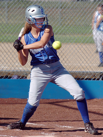Lyndsey Brophy, Broomfield High swings at a pitch from Berthoud High during play at Broomfield on Thursday. <br /> <br /> August 27, 2009<br /> staff photo/David R. Jennings