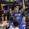 "Austin Tunquist, Centaurus, rebounds the ball against Evan Kihn, Broomfield, during Friday's game at Broomfield. <br /> For more photos please see  <a href=""http://www.broomfieldenterprise.com"">http://www.broomfieldenterprise.com</a><br /> January 19, 2012<br /> staff photo/ David R. Jennings"