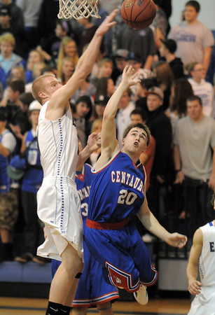 "Dan Perse, Broomfield, fights for the ball against Trevor Schrader, Centaurus, during Friday's game at Broomfield. <br /> For more photos please see  <a href=""http://www.broomfieldenterprise.com"">http://www.broomfieldenterprise.com</a><br /> January 19, 2012<br /> staff photo/ David R. Jennings"