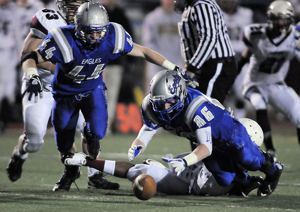 Broomfield's Dan Perse (86) recovers a Cheyenne Mountain fumble during Friday's first round state 4A playoff game at Elizabeth Kennedy Stadium.<br /> <br /> November 11, 2011<br /> staff photo/ David R. Jennings