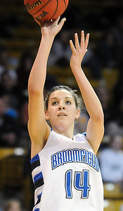 Broomfield's Katie Nehf shoots to the basket against Conifer during the Final Four game at the Coors Event Center in Boulder on Wednesday.  Broomfield defeated Conifer  59-32. March 10, 2010 Staff photo/David R. Jennings