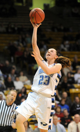 Broomfield's Sarah Hix goes for a lay-up against Conifer during the Final Four game at the Coors Event Center in Boulder on Wednesday <br /> <br /> March 10, 2010<br /> Staff photo/David R. Jennings