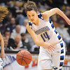 Broomfield's Katie Nehf steals the ball from Conifer to score during the Final Four game at the Coors Event Center in Boulder on Wednesday <br /> <br /> March 10, 2010<br /> Staff photo/David R. Jennings