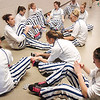 The Broomfield team stretches before Wednesday's  Final Four game against Conifer  at the Coors Event Center in Boulder. <br /> <br /> <br /> March 10, 2010<br /> Staff photo/David R. Jennings