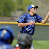 Pitcher Nick Halliday, Broomfield, catches the ball hit by Greeley Central during Saturday's game at Broomfield.<br /> May 8, 2010<br /> Staff photo/ David R. Jennings