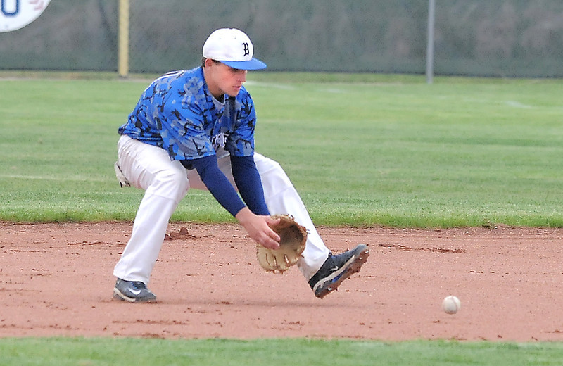 Broomfield's Jordan Arensdorf catches a ground ball hit by Green Mountain during Saturday's 4A District game at Broomfield.<br /> <br /> May 12, 2012 <br /> staff photo/ David R. Jennings
