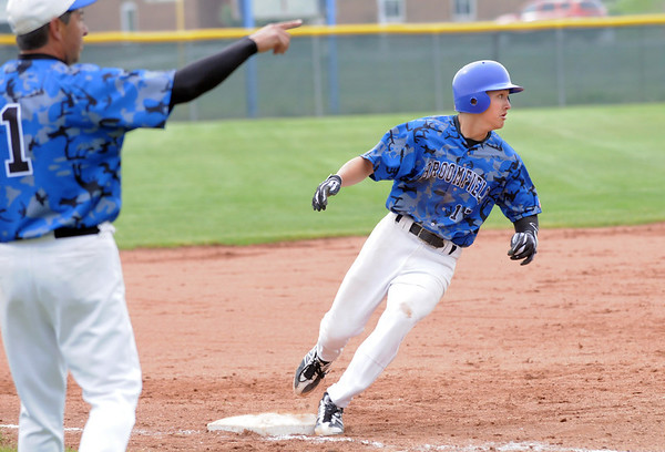 Broomfield's Dylan Gable rounds third base during Saturday's 4A District game against Green Mountain at Broomfield.<br /> <br /> May 12, 2012 <br /> staff photo/ David R. Jennings