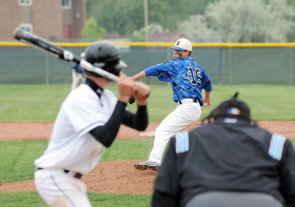 Broomfield's pitcher Brandon Bailey throws against Green Mountain during Saturday's 4A District game at Broomfield.<br /> <br /> May 12, 2012 <br /> staff photo/ David R. Jennings