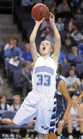 Cherokee Rohrbaugh, Broomfield goes to the basket against Legacy during Saturday's cross town girls game at the 1stBank Center.<br /> January 8, 2011<br /> staff photo/David R. Jennings