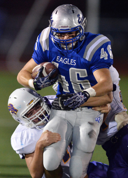 Broomfield's D. J. Zissimos runs the ball downfield against Littleton during Friday's Homecoming game at Elizabeth Kennedy Stadium..<br /> September 20, 2012<br /> staff photo/ David R. Jennings