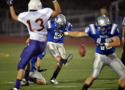 Broomfield's Pat Lalancette kicks a field goal against Littleton during Friday's Homecoming game at Elizabeth Kennedy Stadium.. September 20, 2012 staff photo/ David R. Jennings