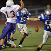 Broomfield's Pat Lalancette kicks a field goal against Littleton during Friday's Homecoming game at Elizabeth Kennedy Stadium..<br /> September 20, 2012<br /> staff photo/ David R. Jennings