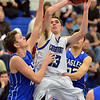 Longmont's  Eli Sullivan goes to the basket against Broomfield's Spenser Reeb during Friday's game at Longmont High.<br /> February 8, 2013<br /> staff photo/ David R. Jennings