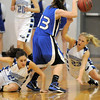 Broomfield's Brittney Zec, left, and Morgan Rynearson attempt to steal the ball from  Longmont's  Jamie Katuna during Friday's game at Broomfield. <br /> <br /> January 14, 2011<br /> staff photo/David R. Jennings