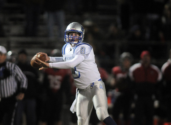 Broomfield's Aric Kaiser passes against Loveland during Friday's game at Ray Patterson Stadium in Loveland.<br /> November 19, 2010<br /> staff photo/David R. Jennings