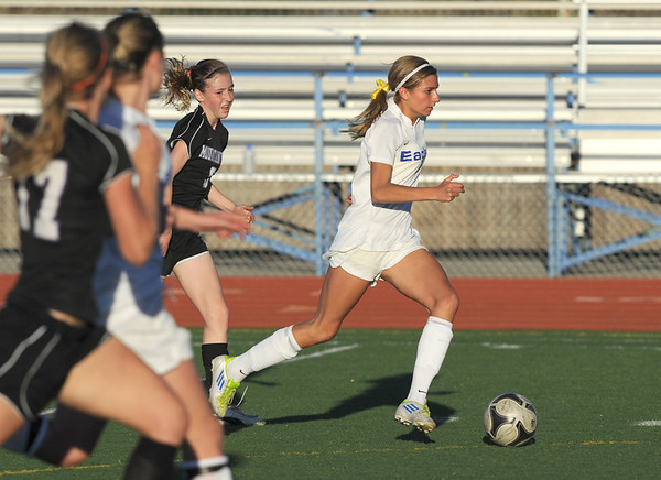 Broomfield's Chaya Ahrens moves into position to score a goal against Mountain View during Friday's game at Elizabeth Kennedy Stadium.<br /> March 23, 2012 <br /> staff photo/ David R. Jennings