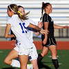 Broomfield's Chaya Ahrens celebrates her goal against Mountain View with Ellie Milner during Friday's game at Elizabeth Kennedy Stadium.<br /> March 23, 2012 <br /> staff photo/ David R. Jennings