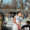 Broomfield's Elle Milner does a header past Mountain View during Friday's game at Elizabeth Kennedy Stadium.<br /> March 23, 2012 <br /> staff photo/ David R. Jennings