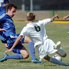 Cole Chapleski, left, Broomfield, and Alex Braman, Niwot go for the ball during Saturday's game at Niwot High.<br /> <br /> October 3, 2009<br /> Staff photo/David R. Jennings