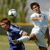 3<br /> Garrett Seitz, left, Broomfield, fights for the ball with Santiago Velez, Niwot during Saturday's game at Niwot High.<br /> <br /> October 3, 2009<br /> Staff photo/David R. Jennings