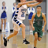Brittney Zec, Broomfield, passes the ball ahead of Katy Hedlund, Niwot , during Friday's game at Broomfield.<br /> <br /> <br /> January 29, 2010<br /> Staff photo/David R. Jennings