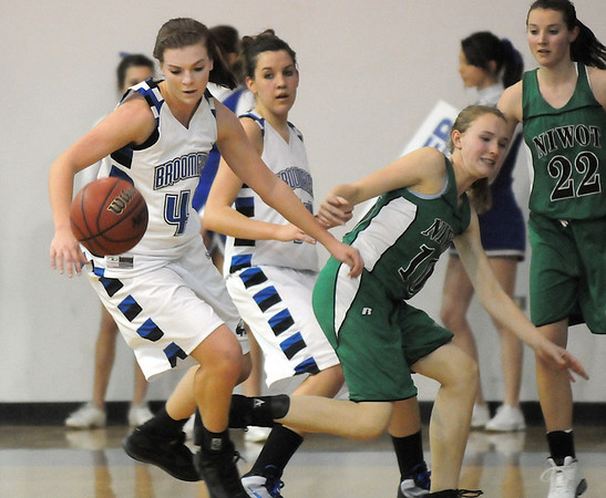 Renae Waters, Broomfield, eyes a loose ball after colliding with Kelly Piletic, Niwot ,during Friday's game at Broomfield.<br /> <br /> <br /> January 29, 2010<br /> Staff photo/David R. Jennings