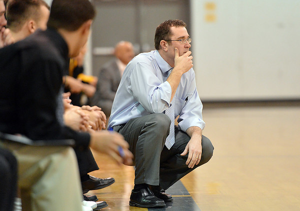 Broomfield's head coach Terrence Dunn studies the game against Pueblo East during Saturday's game at Broomfield.<br /> <br /> February 2, 2013<br /> staff photo/ David R. Jennings