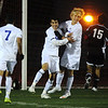 Scott Shaheen, center, celebrates making a goal with Will Roberts, right, and Carlos Mendez, Broomfield High during play Wednesday against Silver Creek at Elizabeth Kennedy Stadium.<br /> September 23, 2009<br /> staff photo/David Jennings
