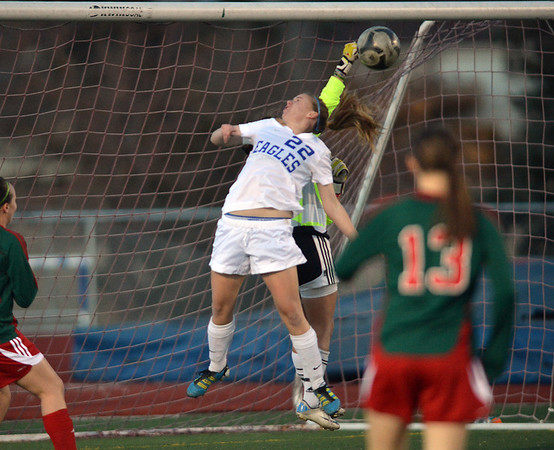 Katie Forsee, Broomfield nearly gets the ball past Megan Kneefel,  goalie Smoky Hill during Thursday's game at Elizabeth Kennedy Stadium.<br /> March 7, 2013<br /> staff photo/ David R. Jennings
