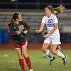 Katie Forsee, Broomfield does a header past Cassidy Robinson, Smoky Hill during Thursday's game at Elizabeth Kennedy Stadium.<br /> March 7, 2013<br /> staff photo/ David R. Jennings