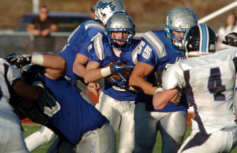 Broomfield's Dan Geubelle makes his way through the line against Valor Christian during the semi final game on Saturday at Elizabeth Kennedy Stadium.<br /> November 27, 2010<br /> staff photo/David R. Jennings