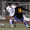 Colton Lamb, Broomfield, takes control of the ball from Ben McBride, Wheat Ridge, during the 4A soccer quarter finals at Elizabeth Kennedy Stadium on Tuesday.<br /> November 1, 2011<br /> staff photo/ David R. Jennings