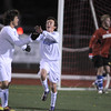 Broomfield's Noah Chapleski, center, celebrates his goal against Wheat Ridge with Fernando Cabrera  during the 4A soccer quarter finals at Elizabeth Kennedy Stadium on Tuesday.<br /> November 1, 2011<br /> staff photo/ David R. Jennings