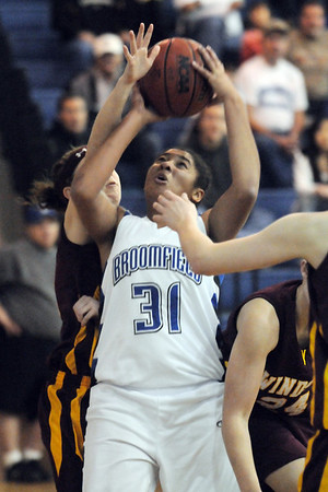 Broomfield's Tyana Medema goes to the basket against Windsor during Saturday's game at Broomfield.<br /> January 16, 2010<br /> Staff photo/David R. Jennings
