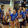 Teammates cheer on Broomfield's Breanne Clausen performing her floor routine at the state 5A gymnastics competition at Thornton High School on Friday.<br /> <br /> November 2, 2012<br /> staff photo/ David R. Jennings