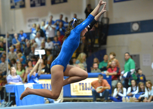 Broomfield's Monica Hoffman performs her floor routine at the state 5A gymnastics competition at Thornton High School on Friday.<br /> <br /> November 2, 2012<br /> staff photo/ David R. Jennings