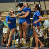Broomfield's coach Erika Taga hugs Gabby Maiden after her performance on the floor at the state 5A gymnastics competition at Thornton High School on Friday<br /> <br /> November 2, 2012<br /> staff photo/ David R. Jennings