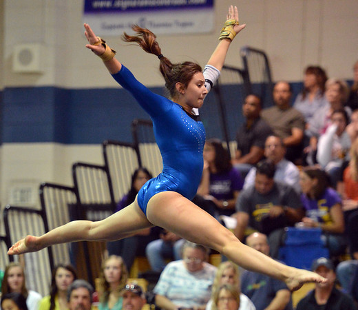 Broomfield's Monique Martinez performs her floor routine at the state 5A gymnastics competition at Thornton High School on Friday.<br /> <br /> November 2, 2012<br /> staff photo/ David R. Jennings
