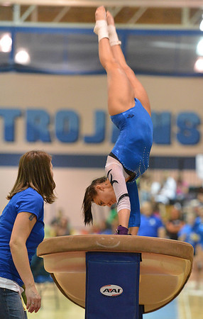 Broomfield's Gabby Maiden performs on the vault at the state 5A gymnastics competition at Thornton High School on Friday<br /> <br /> November 2, 2012<br /> staff photo/ David R. Jennings