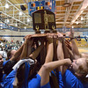 The Broomfield gymnastics team holds the state 5A gymnastics trophy after winning the competition at Thornton High School on Friday<br /> <br /> November 2, 2012<br /> staff photo/ David R. Jennings