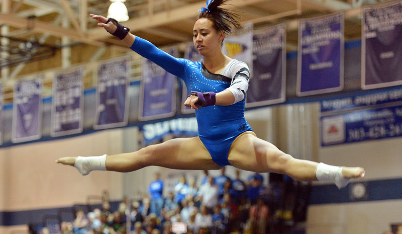 Broomfield's Gabby Maiden performs her floor routine at the state 5A gymnastics competition at Thornton High School on Friday.<br /> <br /> November 2, 2012<br /> staff photo/ David R. Jennings