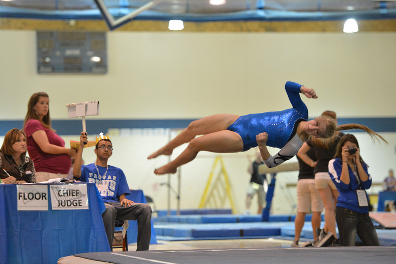 Broomfield's Kailey Licata performs her floor routine at the state 5A gymnastics competition at Thornton High School on Friday.<br /> <br /> November 2, 2012<br /> staff photo/ David R. Jennings