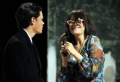 Michael Lund, left, playing Senator Savage, talks to Sarah Espinoza, playing Fairy Mae,  during rehearsal for the Broomfield High production of Curious Savage on Wednesday.  October 7, 2009 Staff photo/David R. Jennings